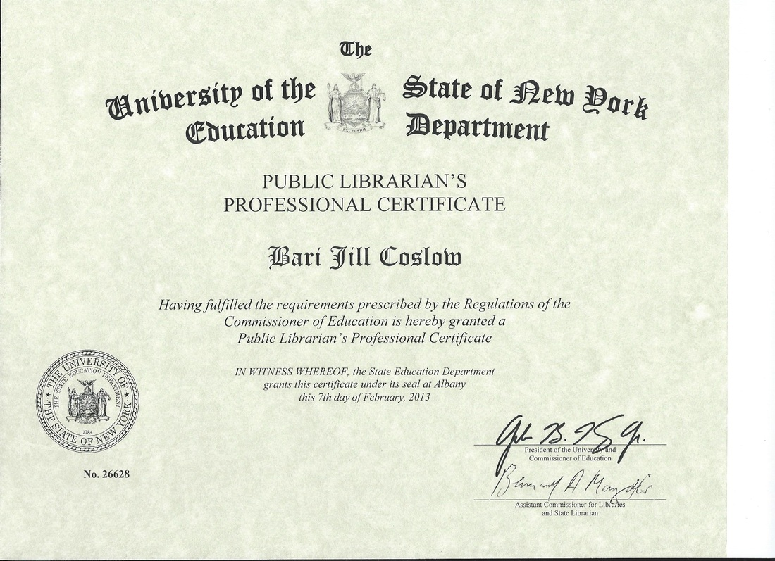 New York State Public Librarians Professional Certificate Novel